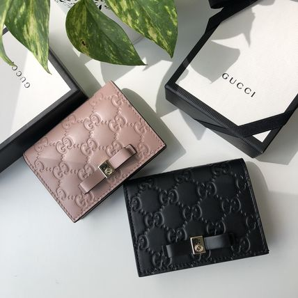 GUCCI Gucci Signature Leather Leather Logo Card Holders