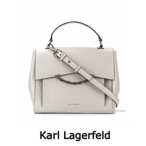 Karl Lagerfeld Casual Style Chain Plain Leather Office Style Elegant Style