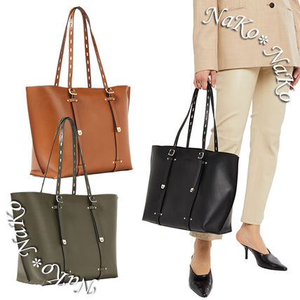 Casual Style A4 Plain Leather Khaki Totes
