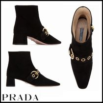 PRADA Square Toe Suede Leather Block Heels Ankle & Booties Boots