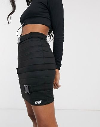 Pencil Skirts Short Casual Style Sweat Logo Skirts