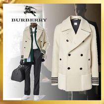 Burberry Wool Plain Leather Long Peacoats Coats