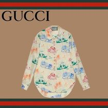 GUCCI Casual Style Silk Long Sleeves Shirts & Blouses