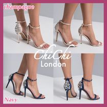 Chi Chi London Open Toe Blended Fabrics Plain Pin Heels Party Style