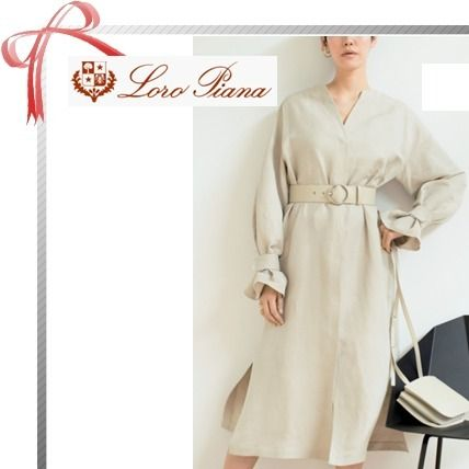 Linen Long Sleeves Plain Long Elegant Style Dresses