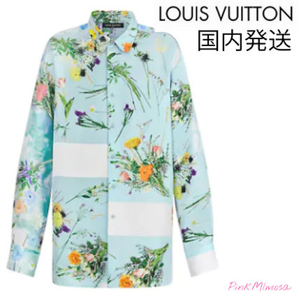 Louis Vuitton Shirts Silk Flower Patchwork Shirt