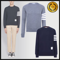 THOM BROWNE Crew Neck Pullovers Long Sleeves Cotton Sweatshirts