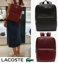 LACOSTE Casual Style Plain Leather Backpacks