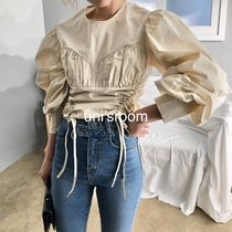 Short Casual Style Puffed Sleeves Long Sleeves Plain Cotton