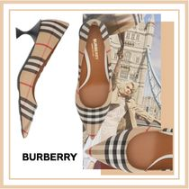 Burberry Tartan Party Style Elegant Style Pointed Toe Pumps & Mules