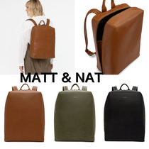 MATT&NAT Casual Style Unisex Nylon A4 Plain Backpacks