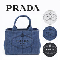 PRADA CANAPA Monogram Casual Style Unisex Canvas Denim Studded 2WAY Plain