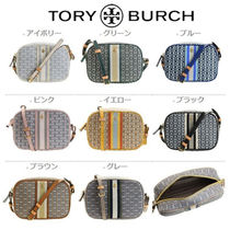 Tory Burch GEMINI LINK Other Plaid Patterns Monogram Casual Style Unisex Leather