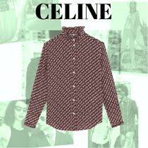 CELINE Casual Style Silk Cotton Office Style Shirts & Blouses