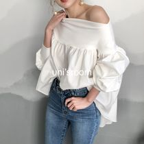 Short Casual Style Blended Fabrics Puffed Sleeves