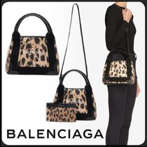 BALENCIAGA CABAS Leopard Patterns Canvas 2WAY Crossbody Logo Shoulder Bags