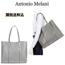 ANTONIO MELANI Casual Style A4 Plain Leather Office Style Totes