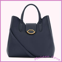 Lulu Guinness Casual Style A4 2WAY Plain Leather Office Style Totes