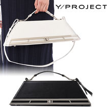 Y PROJECT Unisex 2WAY Leather Logo Shoulder Bags