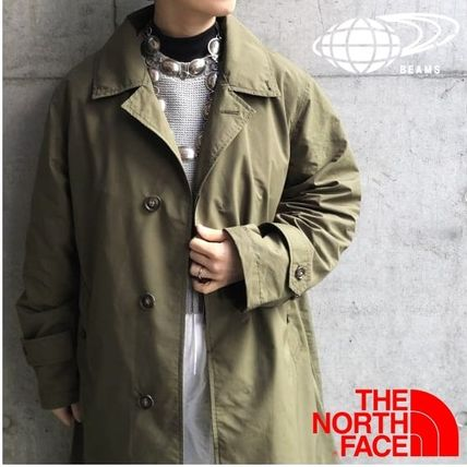 Stand Collar Coats Casual Style Plain Long Khaki