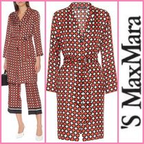 S Max Mara Dots Silk Street Style Long Party Style Office Style