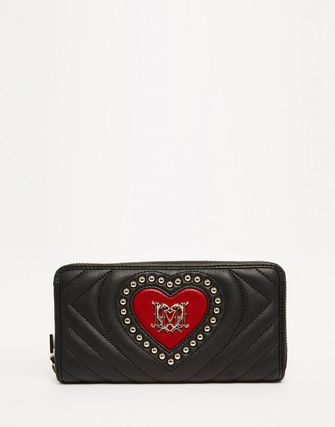 Unisex Faux Fur Blended Fabrics Studded Folding Wallet Logo