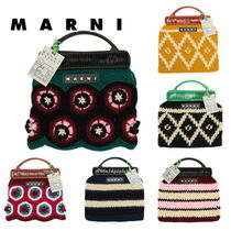 MARNI MARNI MARKET Tropical Patterns Unisex Street Style Vanity Bags Straw Bags