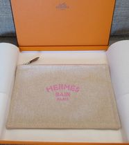HERMES Yachting Canvas Plain Pouches & Cosmetic Bags