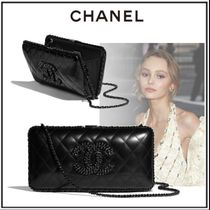 CHANEL Lambskin Chain Leather Party Style Elegant Style Party Bags