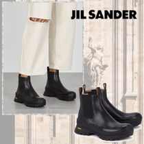 Jil Sander Round Toe Rubber Sole Casual Style Plain Leather Logo