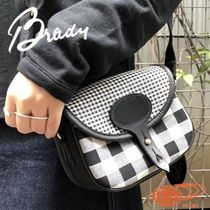 BEAMS Gingham Casual Style Collaboration Leather Shoulder Bags