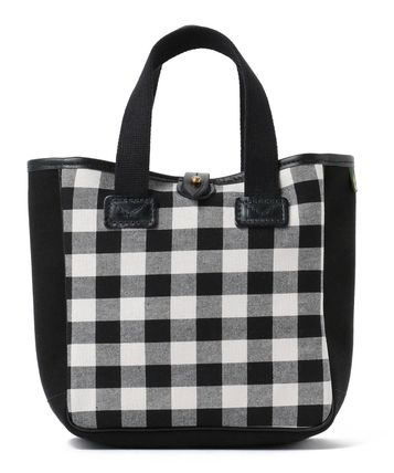 Gingham Casual Style Blended Fabrics Collaboration Leather