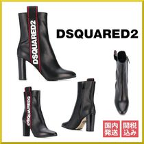 D SQUARED2 Casual Style Leather Block Heels Ankle & Booties Boots