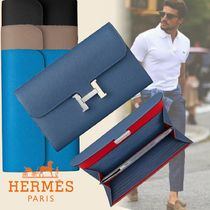 HERMES CONSTANCE Unisex Calfskin Street Style Plain Leather Long Wallets