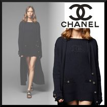 CHANEL Short Stripes Tight Boat Neck Long Sleeves Cotton