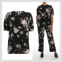 N21 numero ventuno Flower Patterns Silk Short Sleeves Shirts & Blouses