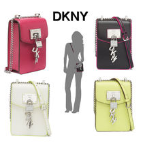 DKNY Casual Style Chain Plain Leather Shoulder Bags