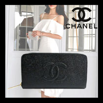 CHANEL ICON Unisex Calfskin Plain Long Wallet  Bridal Logo Long Wallets