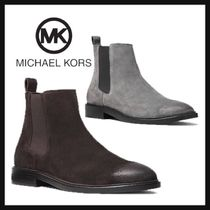 Michael Kors Suede Blended Fabrics Plain Chelsea Boots Loafers & Slip-ons