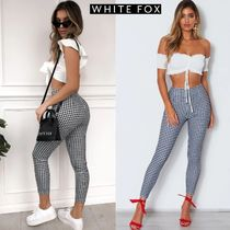 WHITE FOX Gingham Casual Style Long Office Style Short Length