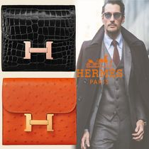 HERMES CONSTANCE Unisex Ostrich Leather Street Style Leather Folding Wallet