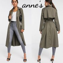 ASOS Casual Style Street Style Plain Long Khaki Trench Coats