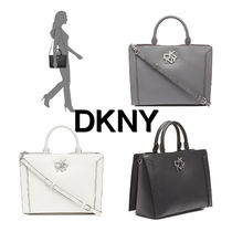DKNY Casual Style A4 2WAY Plain Leather Office Style