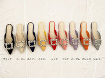 Plain With Jewels Elegant Style Slippers Mules