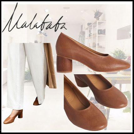 Round Toe Casual Style Plain Leather Block Heels Party Style