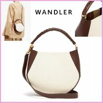 WANDLER Casual Style Canvas Leather Elegant Style Shoulder Bags