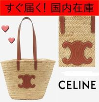 CELINE Triomphe Plain Leather Straw Bags