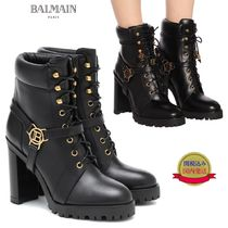 BALMAIN Plain Toe Plain Leather Chunky Heels High Heel Boots