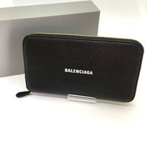 BALENCIAGA EVERYDAY TOTE Unisex Street Style Leather Long Wallet  Logo Long Wallets