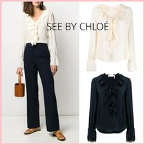 See by Chloe Casual Style Silk Long Sleeves Plain Medium Office Style